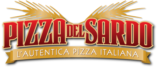 Logo design, branding for Pizza del Sardo restaurant in California.