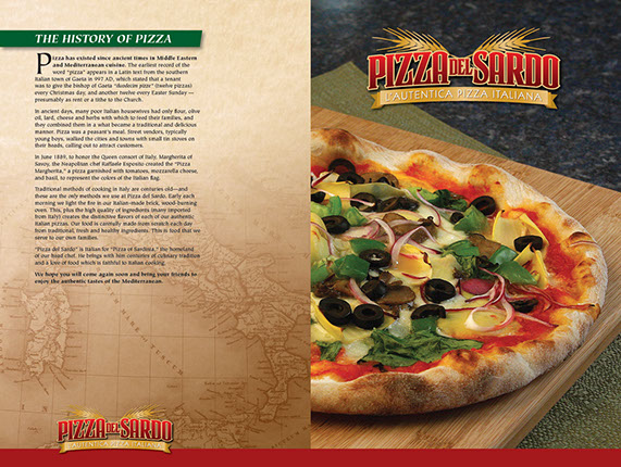 Branding for Pizza del Sardo restaurant in California.