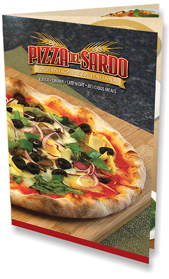 Menu design and photography for Pizza del Sardo in California.