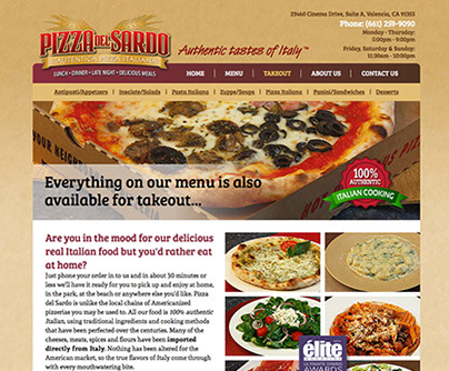 Web site design for Pizza del Sardo Italian restaurant in California.
