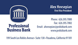 Business card design for Professional Business Bank.