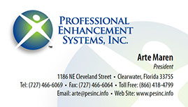 Business card design for Professional Enhancement Systems, Inc.
