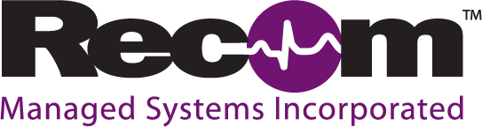 Logo design for Recom Managed Systems, Inc. to be used on their medical products and corporate literature.
