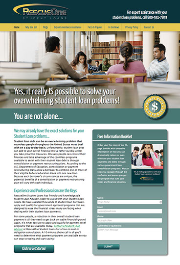 Web site and brochure design for RescueOne Student Loans in California.