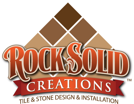 Logo design, branding for Rock Solid Creations of California, a tile and stone installation company.