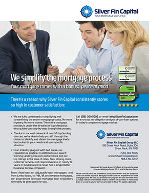 Magazine ad design for Silver Fin Capital by Design Strategies, Inc.
