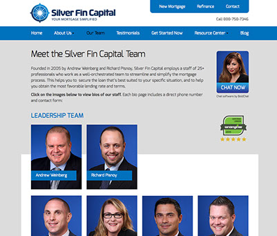 Web site design for Silver Fin Capital mortgage company of Great Neck, New York.