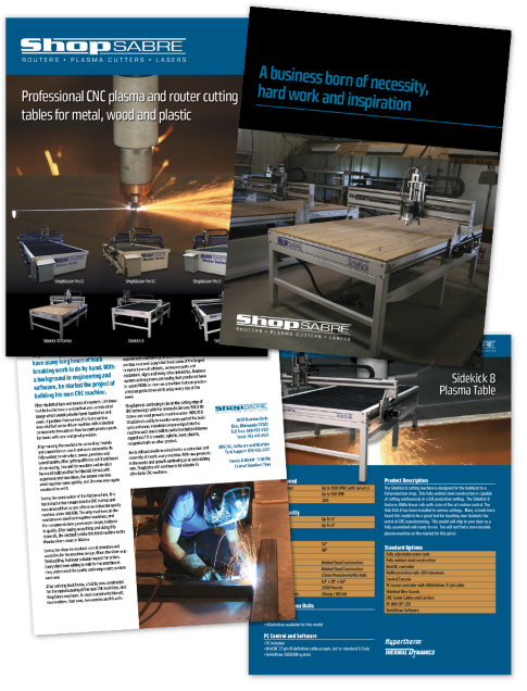 Brochure/product catalog designed for ShopSabre plasma cutters.