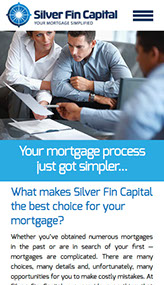 Mobile web site design for Silver Fin Capital in Great Neck, New York.