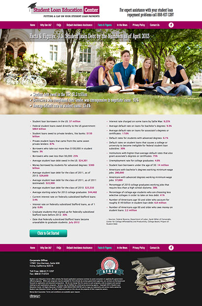 Web site design for Student Loan Education Center in California.