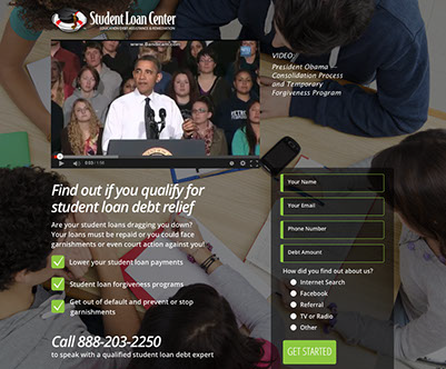 Website design for Student Loan Center of California.