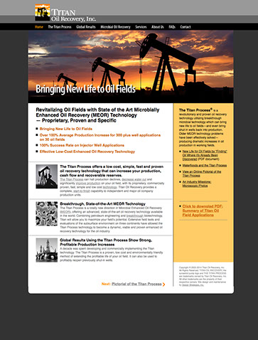 Web site design for Titan Oil Recovery of California and Texas.