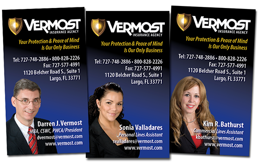 Creation of new company logo and business cards for Vermost Insurance agency of Florida.