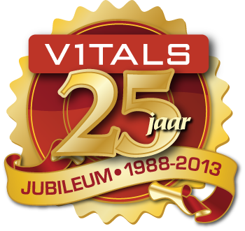 Design of Vitals Supplementen 25th year jubilee logo.