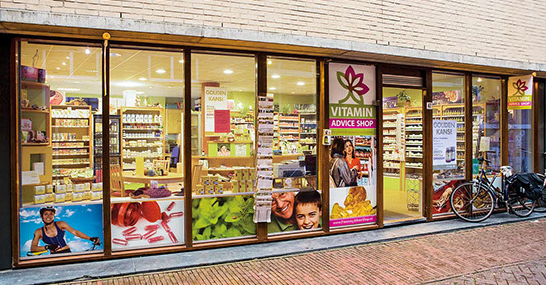 Designs for windows of a vitamin shop in Amsterdam, Netherlands.