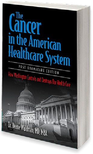 "Book cover design for ""The Cancer in the American Healthcare System"" by Dr. Deane Waldman."